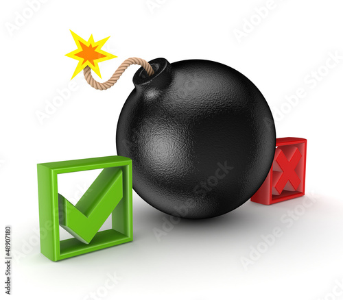 Black bomb between tick and cross mark.