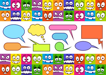 Funny colorful emotions and speech bubbles.
