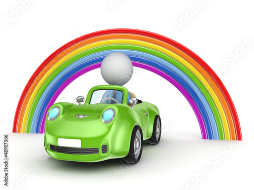 Small person in a car and rainbow.