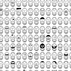 Funny hand drawn characters. Seamless pattern.