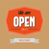 We are open sign. Vintage shop sign. Retro poster