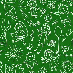 Playing children on chalkboard. Seamless pattern.
