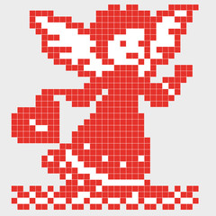 Pixel angel with heart. Romantic background