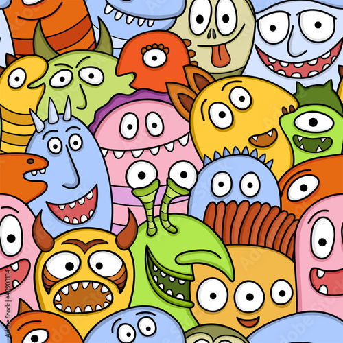 Funny monsters seamless vector pattern. - 48908134