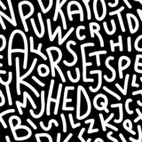Hand drawn letters seamless pattern.