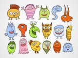 Set of funny Halloween monsters.