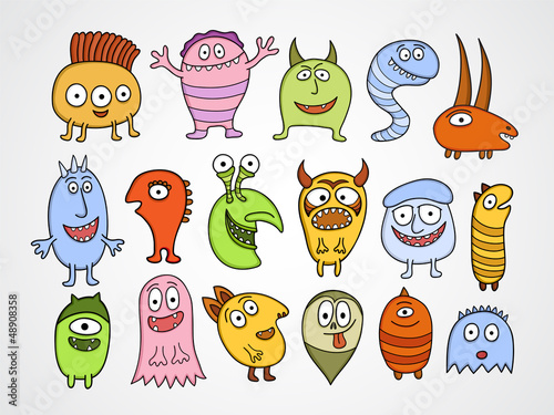 Spoed canvasdoek 2cm dik Schepselen Set of funny Halloween monsters.