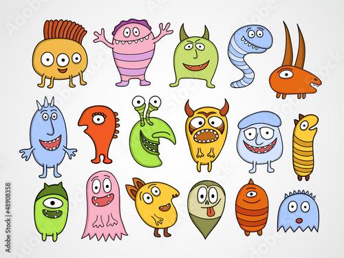 Set of funny Halloween monsters.