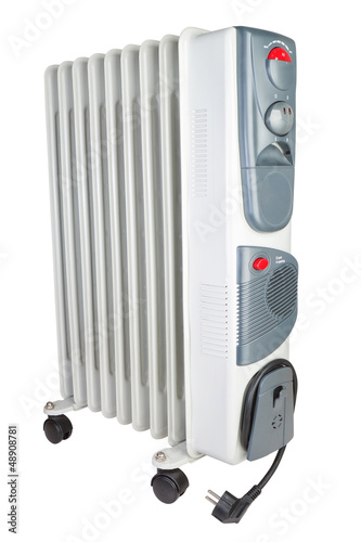 Costal electric heater on oil. On a white background.