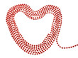Elegant red beads in the shape of a heart. On a white background