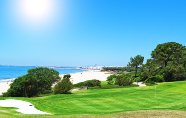Summer day on the golf full of the sea. Portugal.