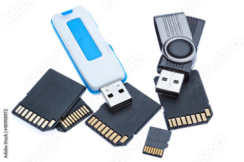 Drives and memory stick. On a white background.