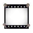 blank film strip frame with metal nail isolated on white