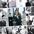 A collage of business images with young working people