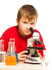Cute Caucasian boy in lab