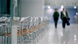 Elderly couple walk in cafe, unfocused view