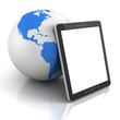 tablet PC with blue earth globe sphere