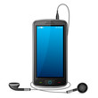 vector illustration of mobile phone with pair of earphone