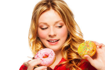 Girl with two donuts