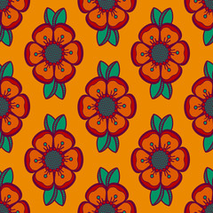 Fashion pattern with flowers in orange color