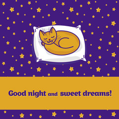 Card with cute little cat dreaming of fish
