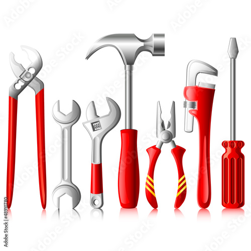 vector illustration of collection of tools against white