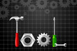 vector illustration of Tool word by Hammer and screwdriver