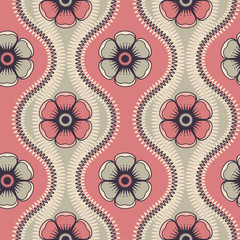 Fashion pattern with flowers in retro color