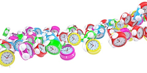 Stream of colored alarm clocks