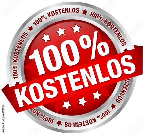 """Button Banner """"100% Kostenlos"""" rot/silber"""