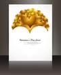 Wedding hearts white brochure card vector