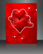 Beautiful Valentine's Day red brochure reflection card design