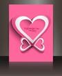 Valentines day pink brochure heart design