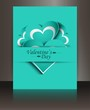 Valentines day blue brochure heart card colorful background illu