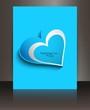 Fantastic blue single heart valentines day brochure vector