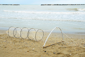 Italy, Ravenna fishing net at Adriano beach