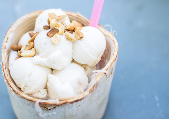 coconut Ice Cream with nuts