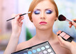 Portrait of beautiful young woman with making makeup in beauty