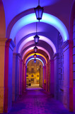 Colorful street lights at the entrance to the town hall in Lvov