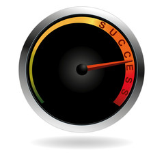 Speedometer with red needle pushing to the word success