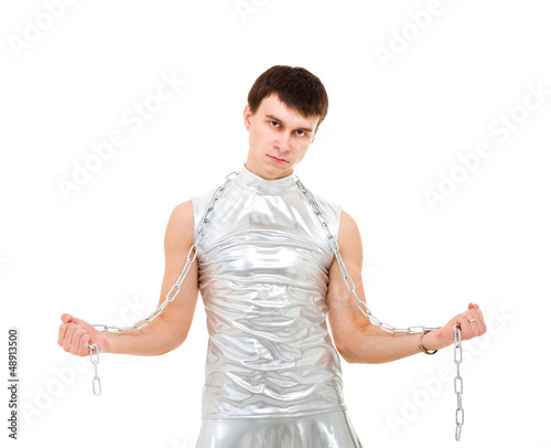 young man with a chain