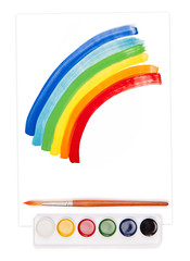 painted rainbow, watercolor set and brush