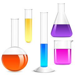 vector illustration of Laboratory glassware with colorful liquid