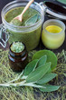Body care: body scrub with herbs, soap and sea salt