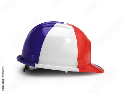 French flag on construction helmet