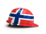 Norwegian flag on construction helmet