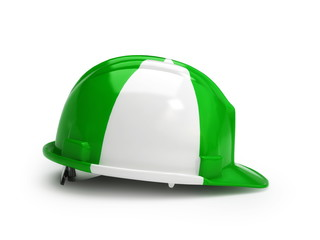 Nigerian flag on construction helmet