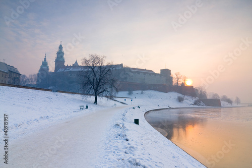 Historic royal Wawel Castle in Cracow, Poland