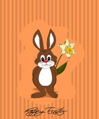 Ostern, Karte mit Hase und Blumen