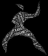 Karate pictogram on black background